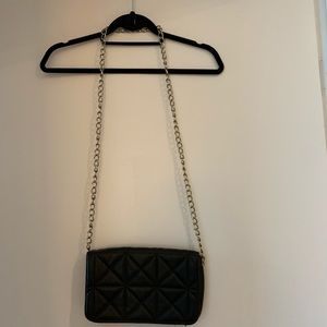 Forever 21 Black and Gold Quilted Leather Purse